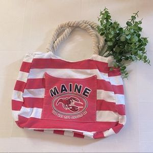 Lucky 7 USA Maine Red Striped Tote Bag